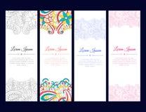 Σύνολο καρτών ή εμβλημάτων με τη ζωηρόχρωμη διακόσμηση zentangle Στοκ Φωτογραφία