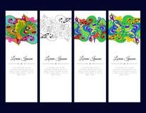 Σύνολο καρτών ή εμβλημάτων με τη ζωηρόχρωμη floral διακόσμηση zentangle Στοκ Εικόνα