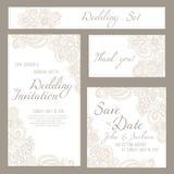 Σύνολο καρτών γάμου, πρόσκλησης ή επετείου με το ρομαντικό floral υπόβαθρο Στοκ εικόνες με δικαίωμα ελεύθερης χρήσης