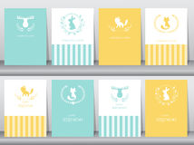 Σύνολο καρτών γενεθλίων, αφίσα, πρότυπο, ευχετήριες κάρτες, ζώα, διανυσματικές απεικονίσεις Στοκ Εικόνα