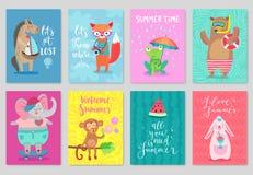 Σύνολο καρτών ζώων, συρμένο χέρι ύφος, θερινό θέμα ελεύθερη απεικόνιση δικαιώματος