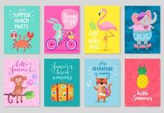 Σύνολο καρτών ζώων, συρμένο χέρι ύφος, θερινό θέμα διανυσματική απεικόνιση