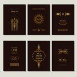 Σύνολο καρτών και πλαισίων του Art Deco Στοκ Εικόνα