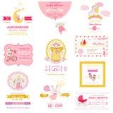 Σύνολο καρτών ντους μωρών Στοκ εικόνα με δικαίωμα ελεύθερης χρήσης
