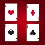 Σύνολο καρτών παιχνιδιού άσσων στο κόκκινο υπόβαθρο Στοκ Εικόνες