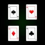 Σύνολο καρτών παιχνιδιού - τέσσερις άσσοι Στοκ Εικόνα