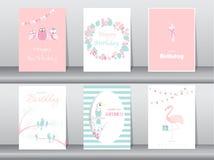 Σύνολο καρτών προσκλήσεων γενεθλίων, αφίσα, χαιρετισμός, πρότυπο, πουλί, κουκουβάγια, φλαμίγκο, διανυσματικές απεικονίσεις Στοκ εικόνα με δικαίωμα ελεύθερης χρήσης