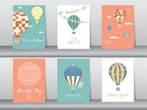 Σύνολο καρτών πρόσκλησης, αφίσα, πρότυπο, ευχετήριες κάρτες, μπαλόνι ζεστού αέρα, διανυσματικές απεικονίσεις Στοκ Φωτογραφίες