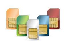 Σύνολο καρτών χρώματος SIM που απομονώνεται Στοκ Εικόνες
