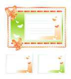 Σύνολο καρτών δώρων Φιαγμένος από ύφασμα με τα τόξα και τις πεταλούδες Στοκ Εικόνες