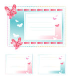 Σύνολο καρτών δώρων Φιαγμένος από ύφασμα με τα τόξα και τις πεταλούδες Στοκ φωτογραφία με δικαίωμα ελεύθερης χρήσης