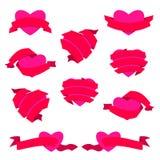 Σύνολο καρδιάς και κορδέλλας επίσης corel σύρετε το διάνυσμα απεικόνισης Κόκκινος Στοκ Φωτογραφία