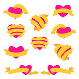 Σύνολο καρδιάς και κορδέλλας κίτρινος Στοκ Εικόνες