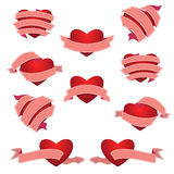 Σύνολο καρδιάς και κορδέλλας Ροζ Στοκ Εικόνες