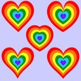 Σύνολο καρδιών ουράνιων τόξων Στοκ φωτογραφίες με δικαίωμα ελεύθερης χρήσης