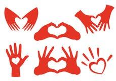 Σύνολο καρδιών χεριών, διάνυσμα Στοκ Φωτογραφίες