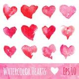 Σύνολο καρδιών Watercolor στην ημέρα βαλεντίνων επίσης corel σύρετε το διάνυσμα απεικόνισης Στοκ φωτογραφία με δικαίωμα ελεύθερης χρήσης
