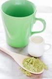 Σύνολο κατασκευής του ζεστού πράσινου ποτού τσαγιού latte Στοκ Εικόνα