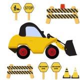 Σύνολο κατασκευής Φορτηγό λογότυπων μπουλντόζων ροδών Διανυσματικό Illustratio Στοκ εικόνες με δικαίωμα ελεύθερης χρήσης