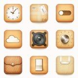 Σύνολο κατασκευασμένων ξύλινων app εγγράφου και δέρματος εικονιδίων στρογγυλευμένο σε ομο Στοκ Εικόνες