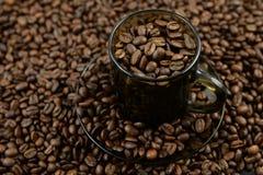 Σύνολο καφέ που γεμίζουν με τα φασόλια καφέ Στοκ Φωτογραφίες