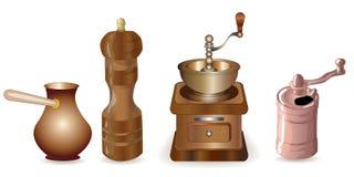 Σύνολο καφέ που κατασκευάζει τον εξοπλισμό ελεύθερη απεικόνιση δικαιώματος