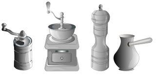 Σύνολο καφέ που κατασκευάζει τον εξοπλισμό διανυσματική απεικόνιση
