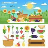 Σύνολο καλαθιών των φρέσκων φρούτων και λαχανικών Στοκ Φωτογραφίες