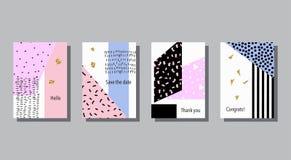 Σύνολο καλλιτεχνικών ζωηρόχρωμων καθολικών καρτών Γάμος, επέτειος, γενέθλια Στοκ Εικόνες