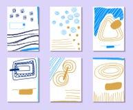 Σύνολο καλλιτεχνικών δημιουργικών καθολικών καρτών Συρμένες χέρι συστάσεις Στοκ Φωτογραφία