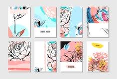 Σύνολο καλλιτεχνικών δημιουργικών καθολικών καρτών Συρμένες χέρι συστάσεις Γάμος, επέτειος, γενέθλια, ημέρα βαλεντίνων ` s, κόμμα Στοκ Φωτογραφίες