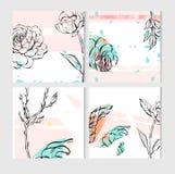 Σύνολο καλλιτεχνικών δημιουργικών καθολικών καρτών Συρμένες χέρι συστάσεις Γάμος, επέτειος, γενέθλια, ημέρα βαλεντίνων ` s, κόμμα Στοκ εικόνες με δικαίωμα ελεύθερης χρήσης