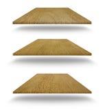 Σύνολο κενών ξύλινων ραφιών Στοκ Εικόνες