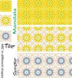 Σύνολο κεραμιδιών Boho και άνευ ραφής σχέδιο Μπλε πορτοκαλί αλφαβητικό ύφος Στοκ Εικόνες