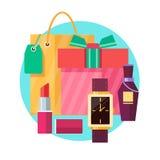 Σύνολο κιβωτίου και τσάντας δώρων με τα διάφορα δώρα στο επίπεδο Στοκ εικόνες με δικαίωμα ελεύθερης χρήσης