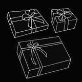 Σύνολο κιβωτίου δώρων στο μαύρο υπόβαθρο Στοκ Εικόνες