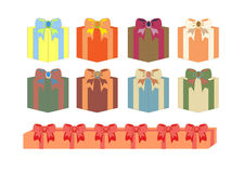 Σύνολο κιβωτίων δώρων στα διαφορετικά χρώματα Στοκ φωτογραφία με δικαίωμα ελεύθερης χρήσης