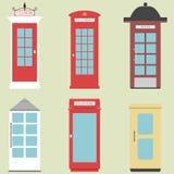 Σύνολο 9 κιβώτιο Ηνωμένων τηλεφώνων από το επίπεδο Λονδίνο κιβώτιο της Αγγλίας, της Σκωτίας και της Ιρλανδίας, βρετανικός τηλέγρα Στοκ εικόνες με δικαίωμα ελεύθερης χρήσης