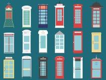 Σύνολο 9 κιβώτιο Ηνωμένων τηλεφώνων από το επίπεδο Λονδίνο κιβώτιο της Αγγλίας, της Σκωτίας και της Ιρλανδίας, βρετανικός τηλέγρα Στοκ Εικόνα