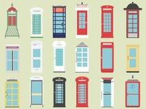 Σύνολο 9 κιβώτιο Ηνωμένων τηλεφώνων από το επίπεδο Λονδίνο κιβώτιο της Αγγλίας, της Σκωτίας και της Ιρλανδίας, βρετανικός τηλέγρα Στοκ Φωτογραφίες
