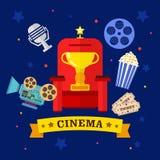 Σύνολο κινηματογράφων και εικονιδίων κινηματογράφων Στοκ Εικόνες
