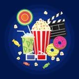 Σύνολο κινηματογράφων και εικονιδίων κινηματογράφων Στοκ εικόνα με δικαίωμα ελεύθερης χρήσης