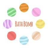 Σύνολο κινούμενων σχεδίων βομβών λουτρών Οργανικό σαπούνι φύσης, aromatherapy, heathcare, υγιεινή Στοκ εικόνα με δικαίωμα ελεύθερης χρήσης