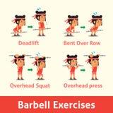 Σύνολο κινούμενων σχεδίων γυναίκας που κάνει barbell το βήμα άσκησης για την υγεία Στοκ Εικόνες