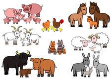 Σύνολο κινούμενων σχεδίων ζώων αγροκτημάτων σκίτσων παιδιών ελεύθερη απεικόνιση δικαιώματος
