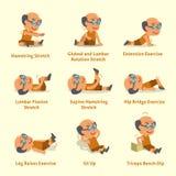 Σύνολο κινούμενων σχεδίων ηληκιωμένου που κάνει την προθέρμανση και τις ασκήσεις διανυσματική απεικόνιση