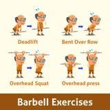 Σύνολο κινούμενων σχεδίων ηληκιωμένου που κάνει barbell το βήμα άσκησης για την υγεία Στοκ Φωτογραφία