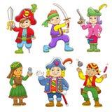 Σύνολο κινούμενων σχεδίων παιδιών πειρατών Στοκ Εικόνα