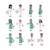 Σύνολο κινούμενων σχεδίων χειρούργων γιατρών απεικόνιση αποθεμάτων