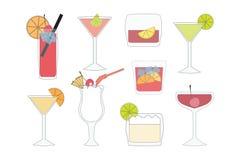 Σύνολο κοκτέιλ και ποτών σε ένα άσπρο υπόβαθρο Στοκ Εικόνες